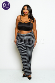 Plus Size Striped Palazzo Casual Pants