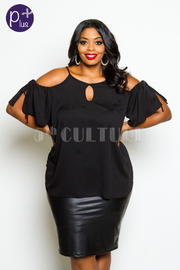 Plus Size Peek A Boo Short Sleeved Top