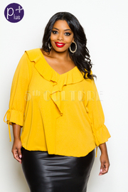 Plus Size Cascade V-neck Solid Blouse