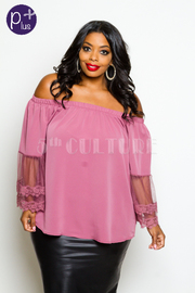 Plus Size Off Shoulder Embroidery Floral Cuff Top