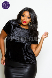 Plus Size Short Sleeved Velvet Top