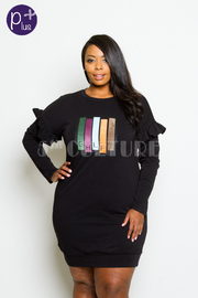 Plus Size Colorful Squared Detail Terry Dress