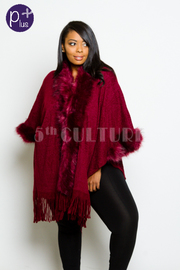 Plus Size Faux Furry Kimono Winter Fringed Cardigan