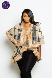Plus Size Winter Plaid Furry Poncho