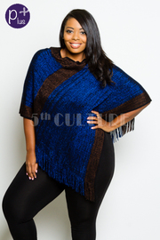 Plus Size Colorblock Winter Stylish Fringed Poncho