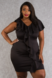 Plus Size Pretty In V-neck Cascade Bodycon Dress
