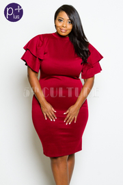 Plus Size Ruffled Up Sleeved Solid Bodycon Dress