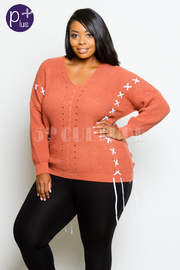Plus Size Trendy Tie Up Acrylic Knitted Sweater