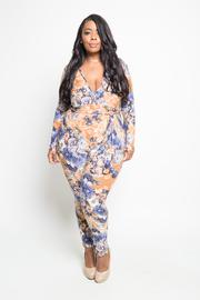 Plus Size Deep V Floral Printed Tie Jumpsuit
