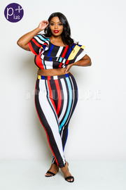 Plus Size One Shoulder Striped 2-Piece Colorful Cropped Pants Set
