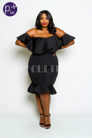 Plus Size Off Shoulder Flounced Trendy Tube Midi Dress