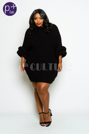 Plus Size Warm Sweater Dress With Donut Detail Sleeves