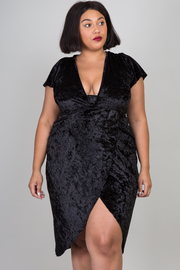 Plus Size Sexy In Velvet Deep V Tulip Tube Dress