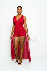 Sleeveless Solid V-neck Maxi Romper Dress