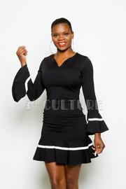 V-neck Flirty Flared Long Sleeved Dress