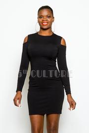 Cold Shoulder Solid Tube Dress
