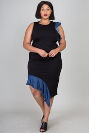 Plus Size Asymmetrical Contrast Flounce Midi Dress