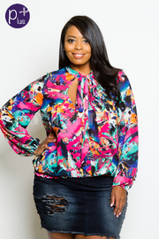 Plus Size Colorful Abstract Puffed Sleeved Bow Tie Neck Sheer Blouse
