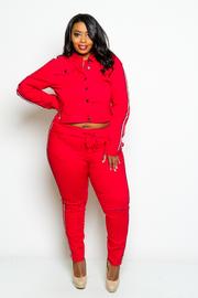 Plus Size Classic Sporty Lined Denim 2-Piece Jacket Pants Set