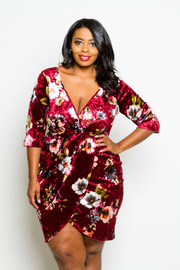 Plus Size Overlap 3/4 Sleeved Floral Velvet Bodycon Dress