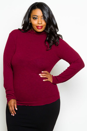 Plus Size Long Sleeved Ribbed High Neck Top