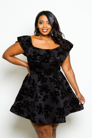 Plus Size Gothic Floral Velvet Skater Dress