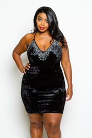 Plus Size Rhinestone V-neck Velvet Bodycon Dress