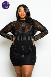 Plus Size Sexy Tie Up Mini Club Laced Dress