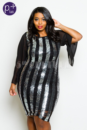 Plus Size Sequin Striped Chiffon Sleeved Dress