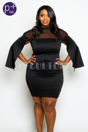 Plus Size Cape Sleeved Solid Tube Dress