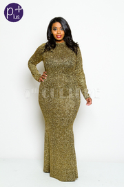 Plus Size Shimmer Cocktail Maxi Dress