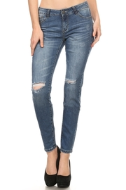 Ripped Knee 5-Pocket Denim Jeans