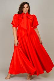 Plus Size Puffed Sleeved Flowy Mock Tie Maxi Dress