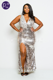 Plus Size Elegant Night Out Shimmer Sequin Maxi V-neck Gown