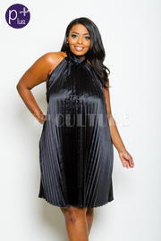 Plus Size Pleated Mock Silky Night Tunic Dress