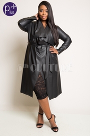 Plus Size Casual Faux Leather Tie Waist Fall Cardigan