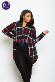 Plus Size Plaid In Style Open Winter Cardigan