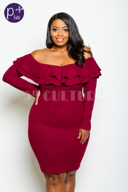Plus Size Off Shoulder Ruffled Long Sleeved Dress