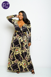 Plus Size Surplice Chain Printed Flowy Maxi Dress