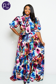Plus Size Puffed Sleeved Abstract Colorful Mock Tie Flowy Maxi Dress