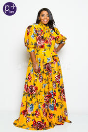 Plus Size Puffed Sleeved Floral Mock Tie Flowy Maxi Dress
