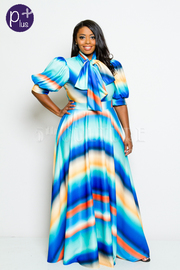 Plus Size Watercolor Puffed Sleeved Mock Tie Maxi Dress