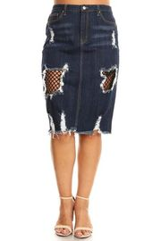 Plus Size Destroyed Denim Midi Net Trim Skirt