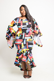 Plus Size Multi-Colored Squared Flounced Sleeved Mermaid Maxi Dress