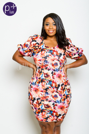 Plus Size Classy Floral Puff Sleeved Tube Dress
