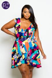 Plus Size V-neck Colorblock Flounced Mini Flowy Dress