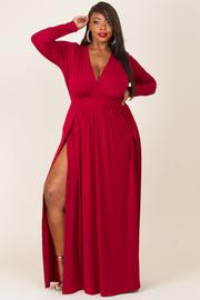 Plus Size Sexy V Cut Slit Maxi Long Sleeved Dress