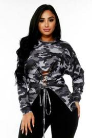 Plus Size Camo In Style Tie Front Long Sleeved Top