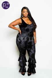 Plus Size Looking Hot Velvet Ruffled Trim Jumpsuit