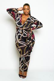 Plus Size Deep V Neck Chain Printed Jumpsuit